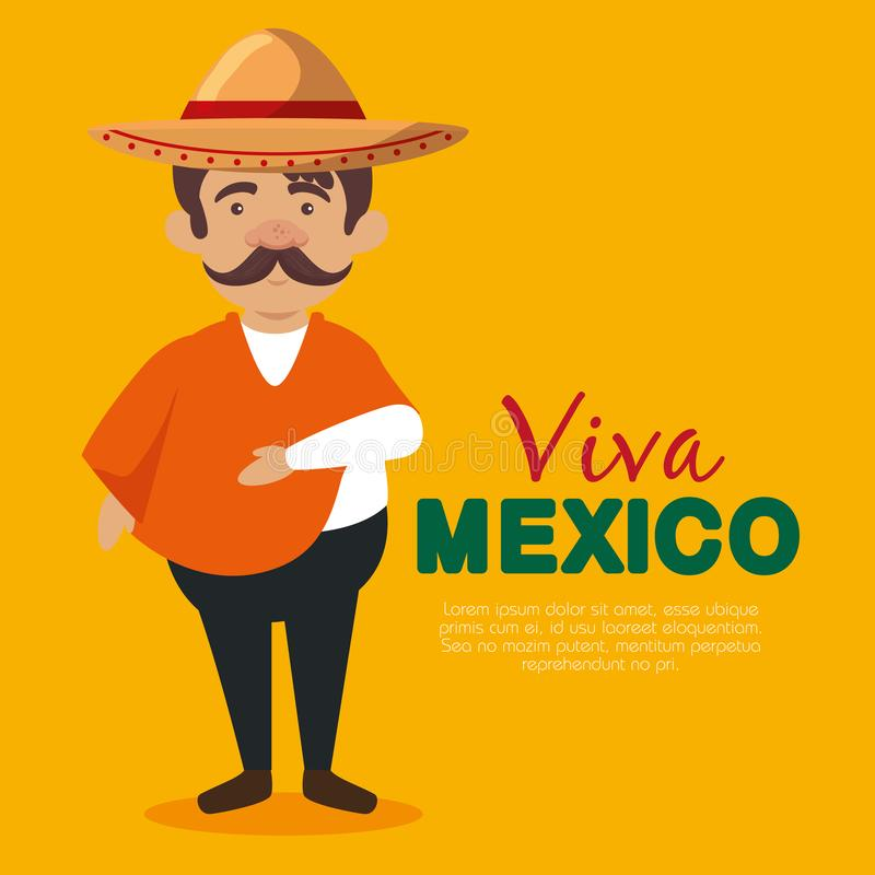 Mexican mariachi man with hat and mustache to event. Vector illustration vector illustration