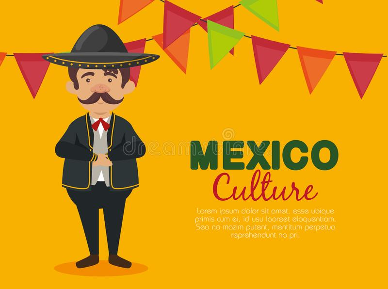 Mexican mariachi man with hat and suit to event. Vector illustration stock illustration