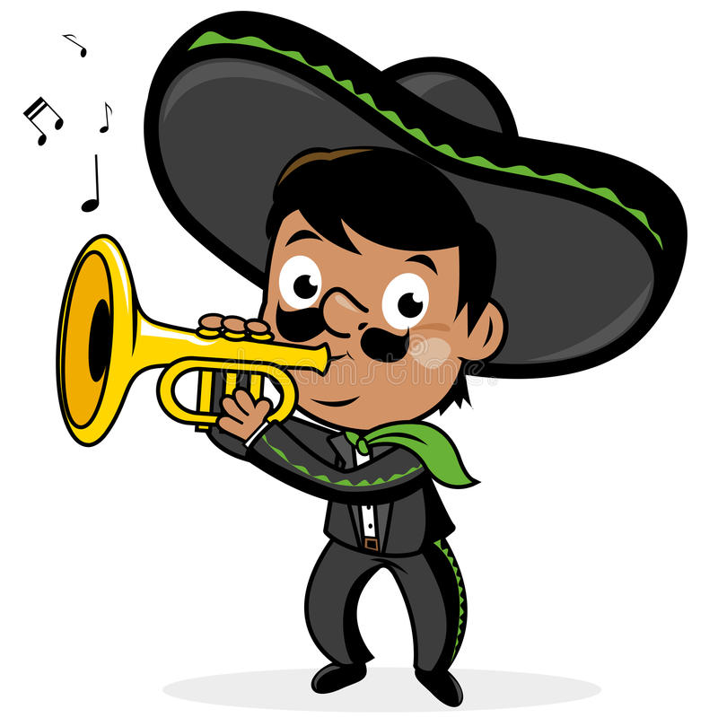 Mexican mariachi man playing the trumpet. Mexican mariachi man wearing a sombrero, and playing the trumpet royalty free illustration
