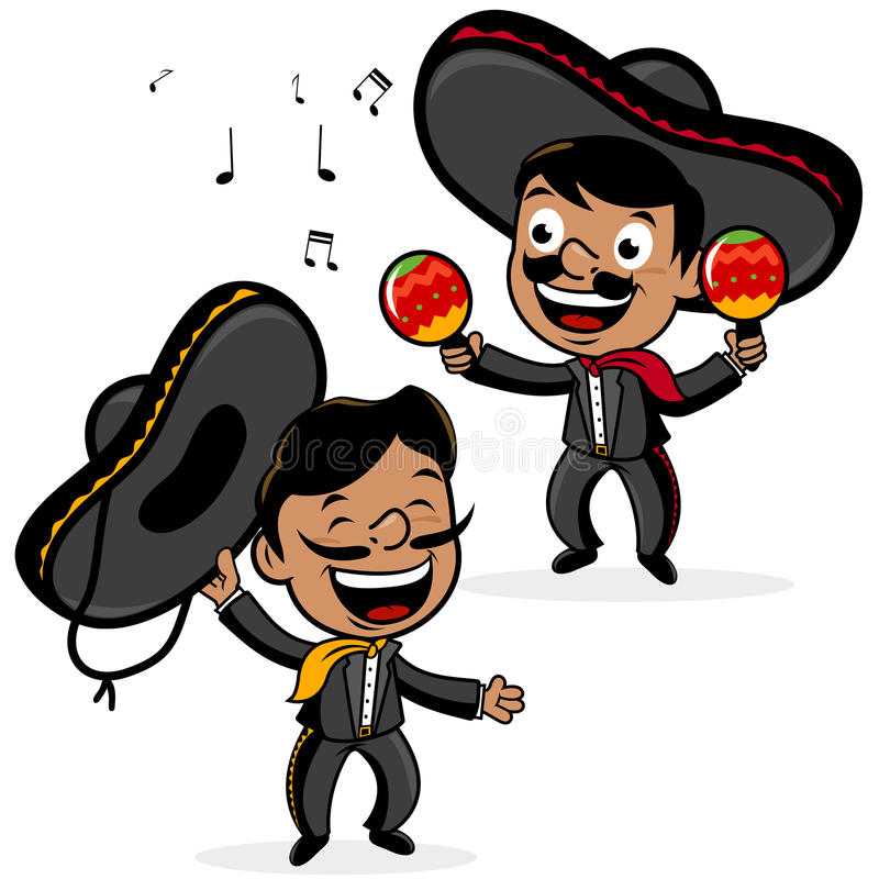 Mexican mariachi men playing the maracas and singing. Mexican mariachi men wearing sombreros, singing and playing the maracas stock illustration