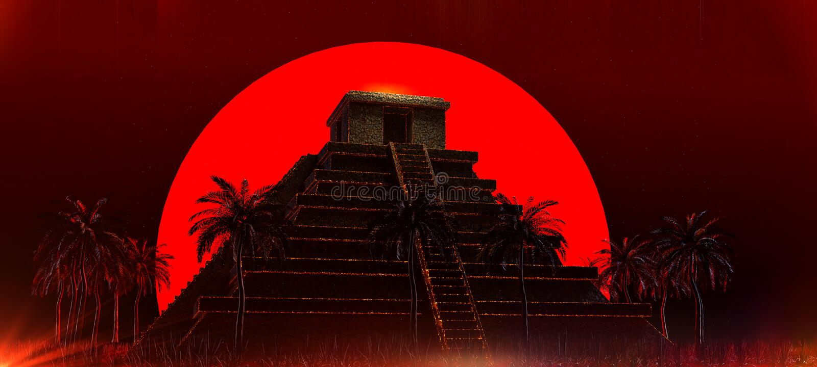 Mexican Mayan Aztec Pyramid in front of big red blood super moon. halloween vampire magic ethnic party background 3d royalty free stock images