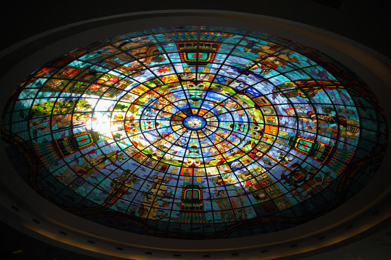 Mexican / Mayan stained glass window stock photography