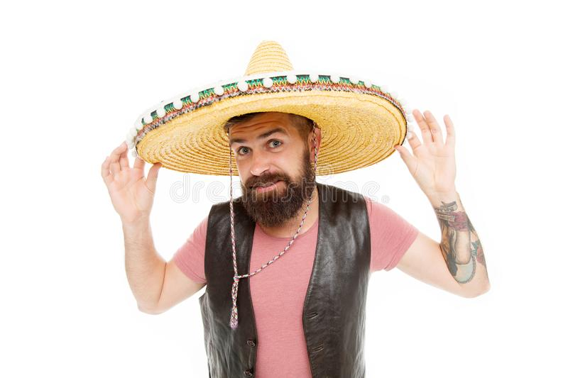 Mexican melody drives him. Celebrate traditional mexican holiday. Mexican party concept. Guy happy cheerful festive. Outfit ready to celebrate. Man bearded stock image