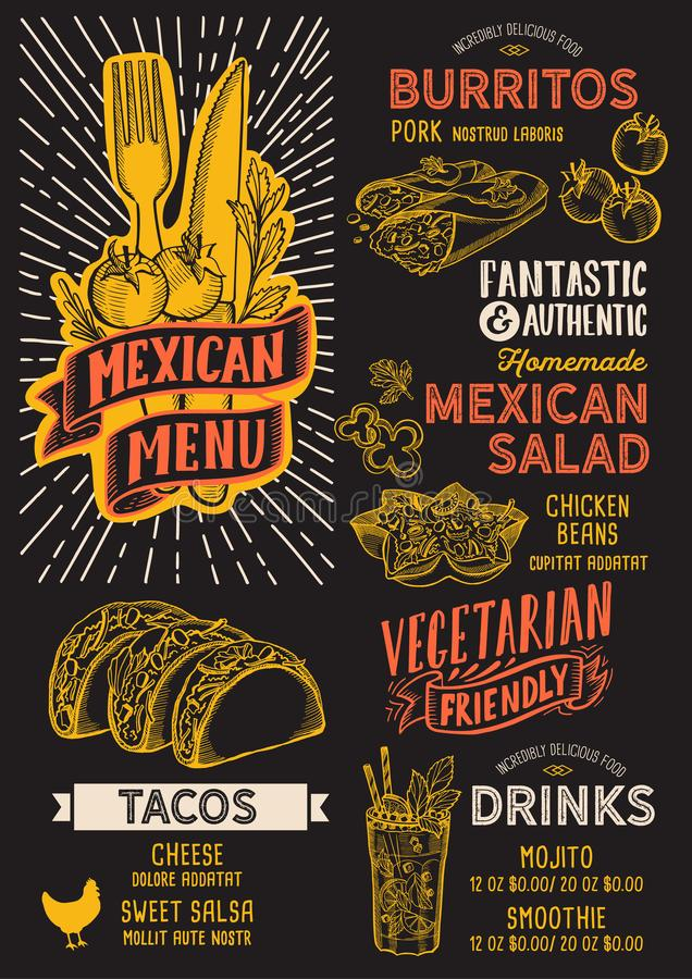 Mexican menu food template for restaurant with doodle hand-drawn graphic. Mexican menu template for restaurant on a blackboard background vector illustration stock illustration