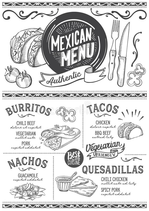 Mexican menu restaurant, food template. Mexican menu for restaurant and cafe. Design template with food hand-drawn graphic illustrations stock illustration