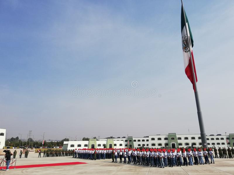 Mexican military service protest of boys and girls royalty free stock photography