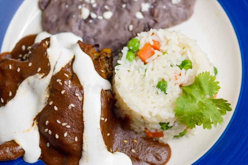 Mexican mole dish, traditional food from the south of Mexico. Mexican mole sauce with chicken, rice and black refried beans. Traditional food from Oaxaca and royalty free stock photo