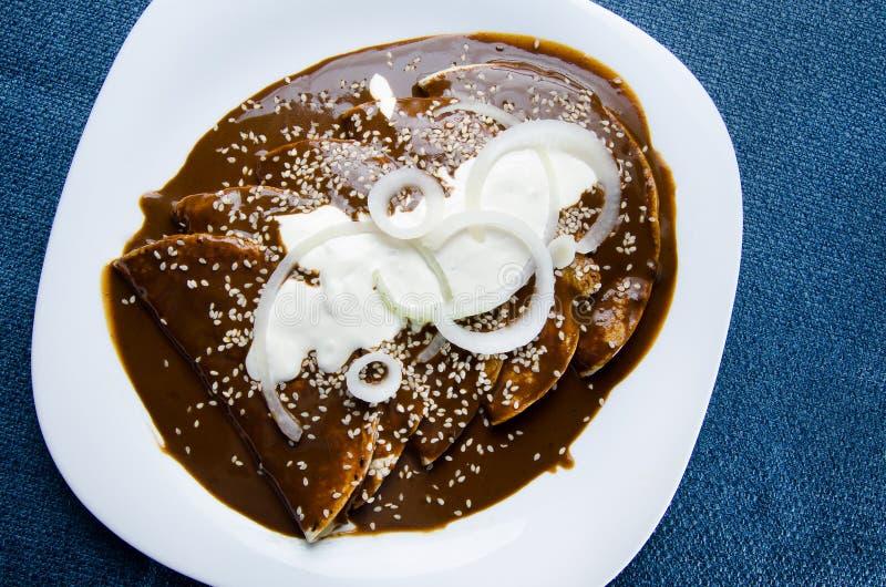 Mexican mole enchiladas royalty free stock photography