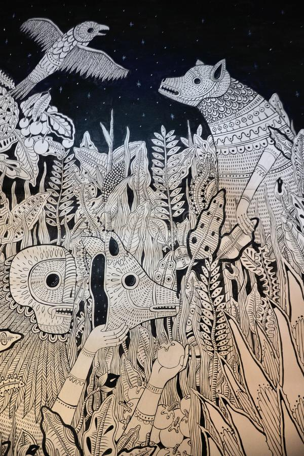 Mexican mural. That I found at the streets of Oaxaca royalty free stock photos