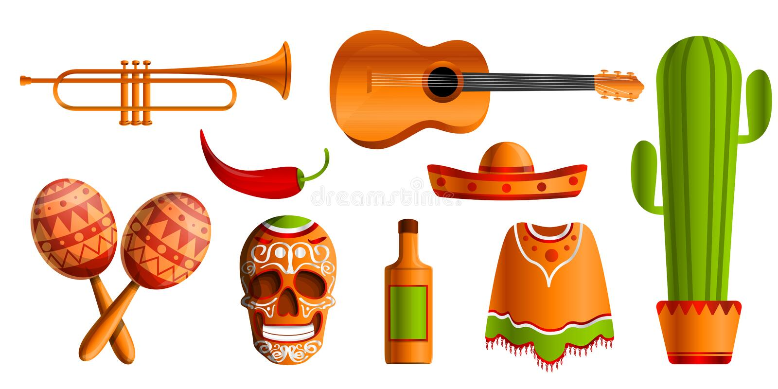 Mexican music icon set, cartoon style royalty free illustration