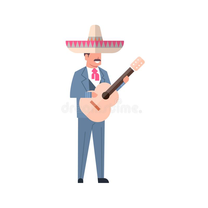 Mexican Music Man With Guitar Wear Traditional Costume And Sombrero Hat Isolated On White Background. Flat Vector Illustration vector illustration