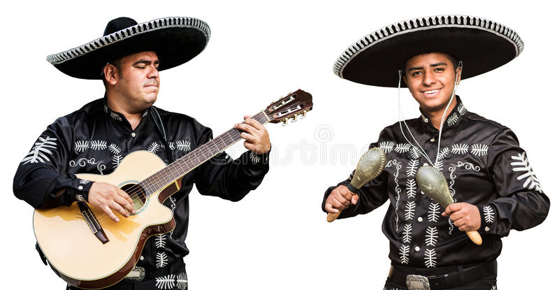 Mexican musicians mariachi band. Isolated on white background stock images