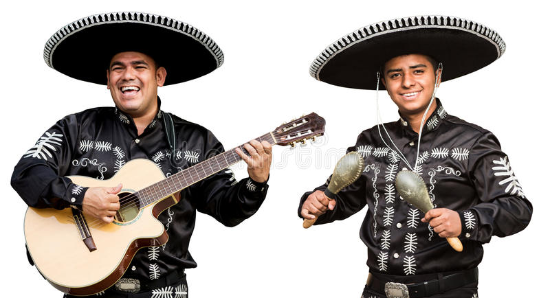 Mexican musicians mariachi band. Isolated on white background stock photo