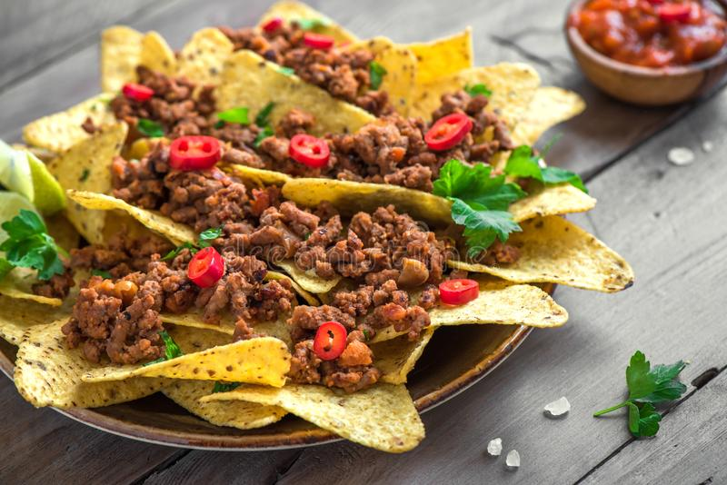Nachos chips and ground beef royalty free stock images