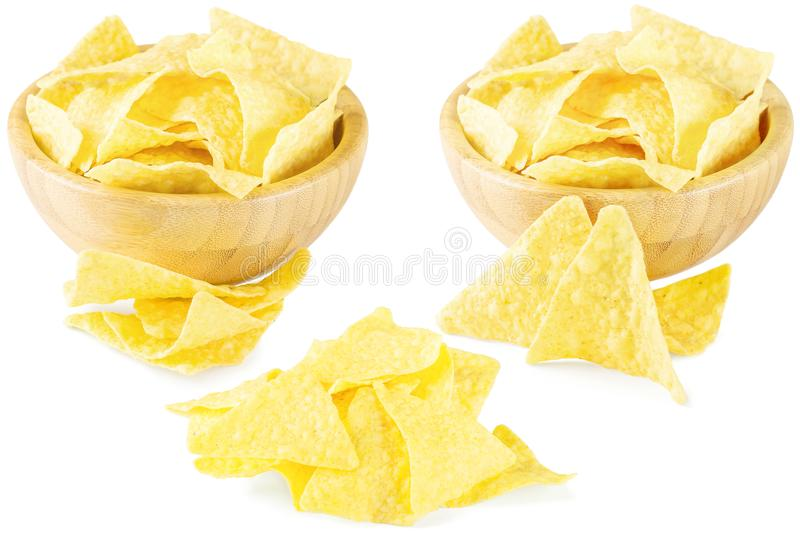 Mexican nachos or tortilla isolated on white background. Mexican nachos or tortilla isolated on a white background royalty free stock images
