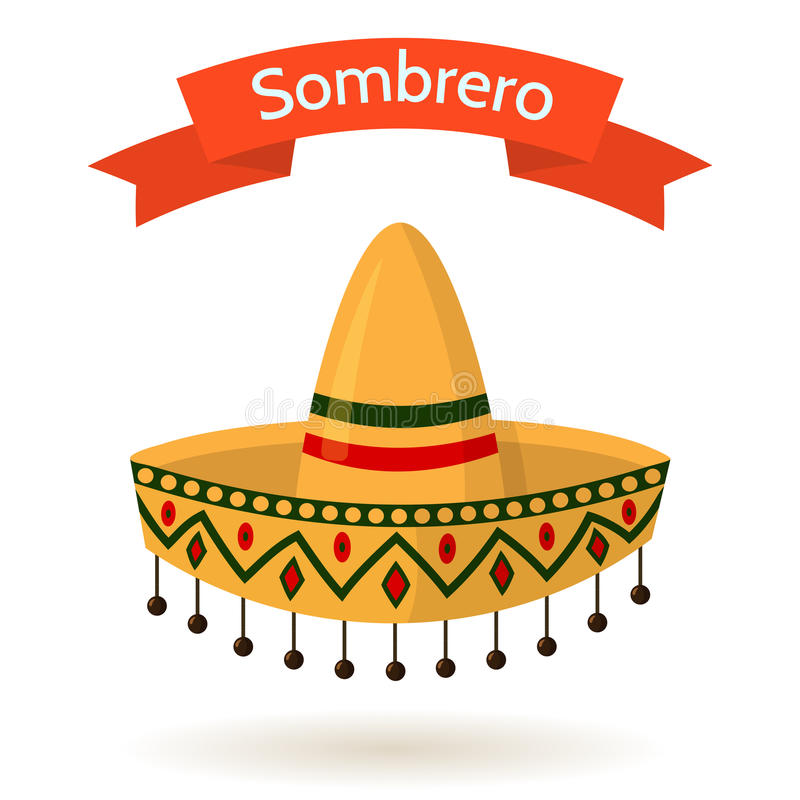 Mexican National Colorful Hat Sombrero Vector Illustration. Traditional mexican colorful hat sombrero on white background. Red ribbon with text. Vector flat stock illustration