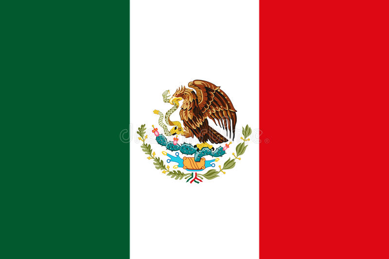 Mexican National Flag With Eagle Coat Of Arms 3D Rendering stock images
