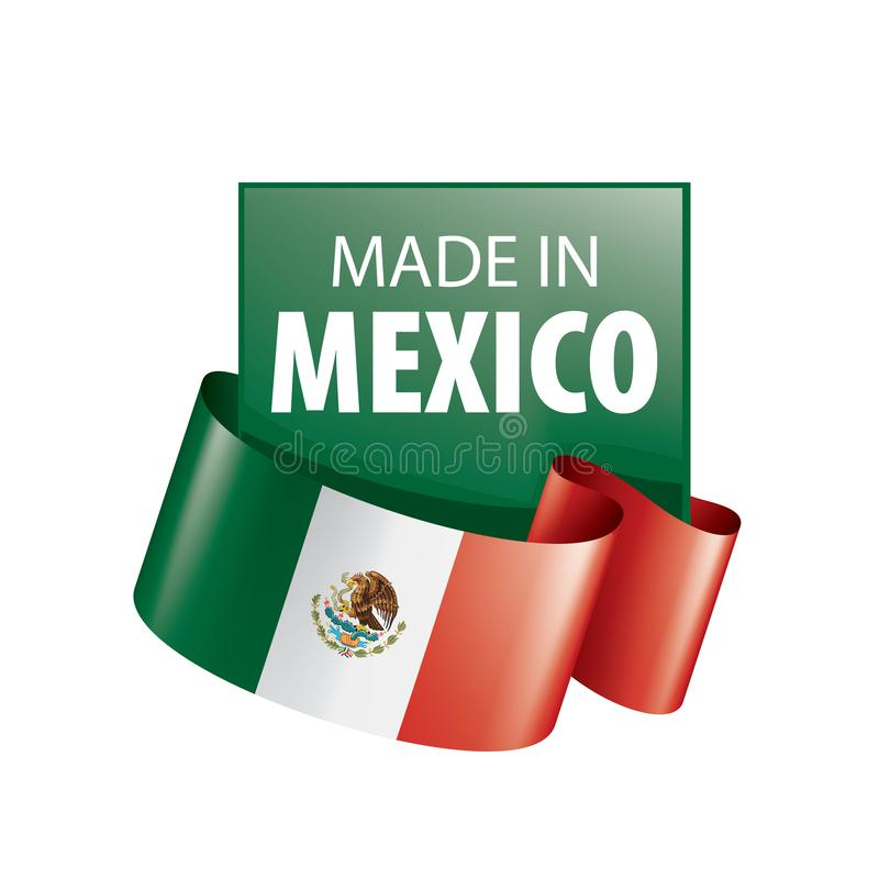 Mexican flag, vector illustration on a white background royalty free illustration