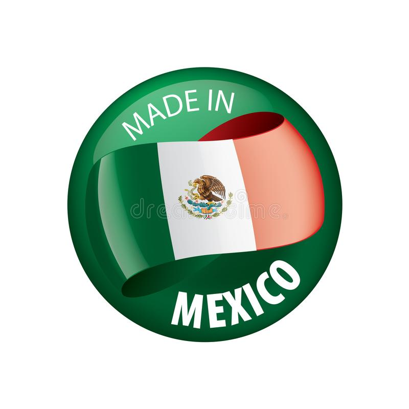 Mexican flag, vector illustration on a white background stock illustration