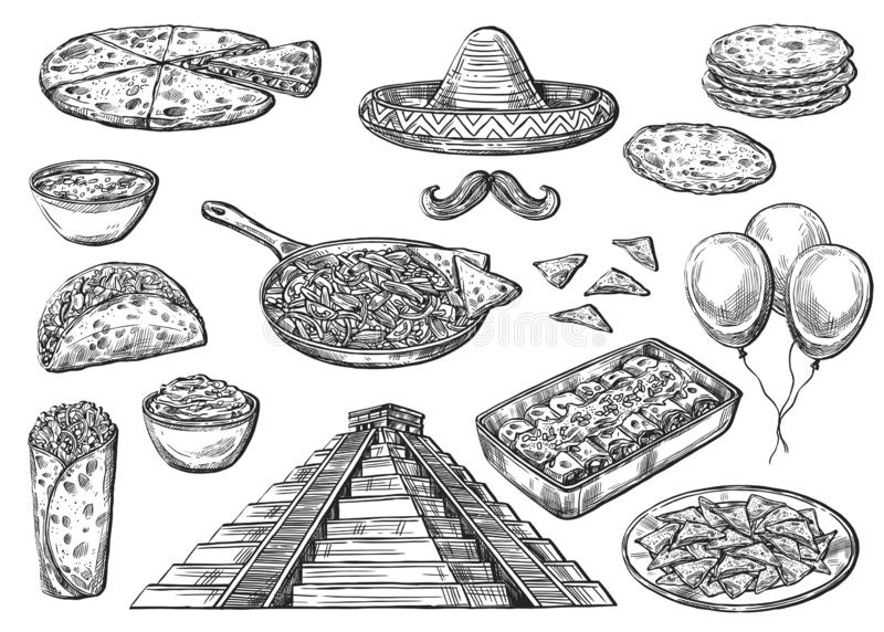 Mexican national food and Cinco de Mayo signs. Cinco de Mayo holiday food and symbols isolated sketches. Vector Mexican pyramid, sombrero hat and moustaches stock illustration