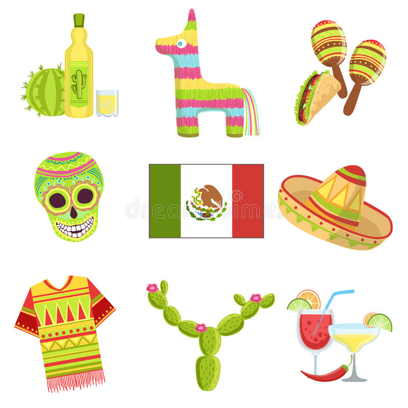 Mexican National Symbols Set Stock Vector Illustration Of Mescal