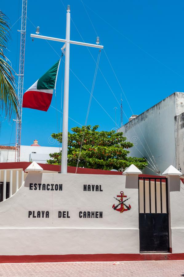 Mexican Naval Base in Playa Del Carmen - Mexico royalty free stock photography