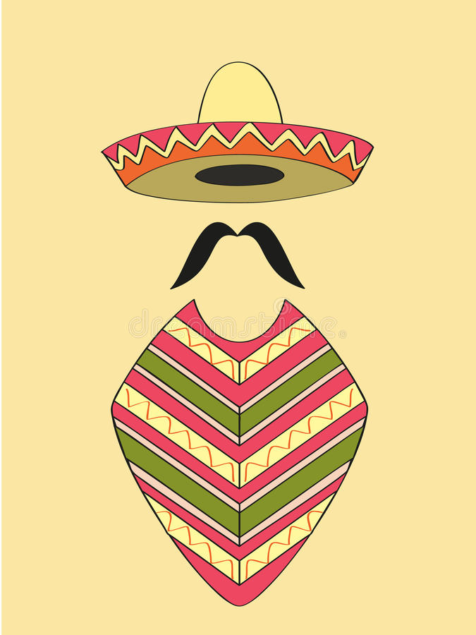 Mexican. Outfit of sombrero hat, long moustache and poncho vector illustration