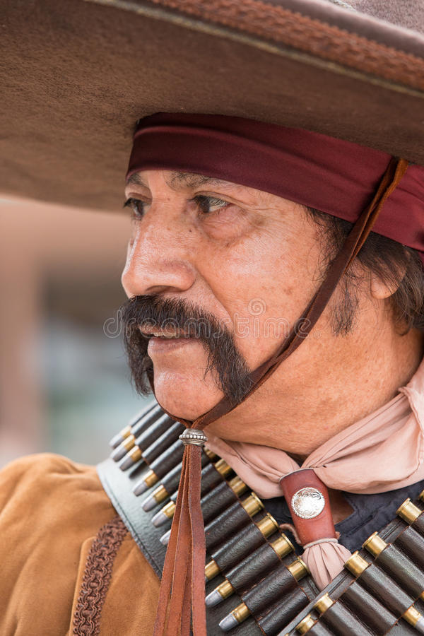 Mexican outlaw in wild west show in Tombstone Arizona stock images