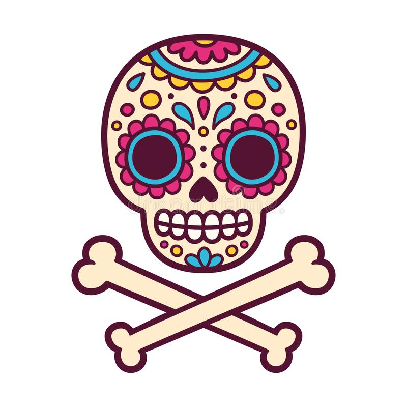 Mexican painted skull vector illustration