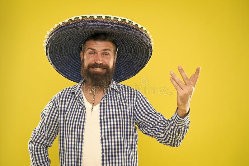 Mexican party concept. Celebrate traditional mexican holiday. Lets have fun. Mexican guy happy festive outfit ready to stock images