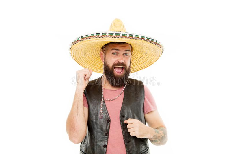 Mexican party concept. Guy happy cheerful festive outfit ready to celebrate. Mexican melody drives him. Man bearded. Cheerful guy wear sombrero mexican hat stock images