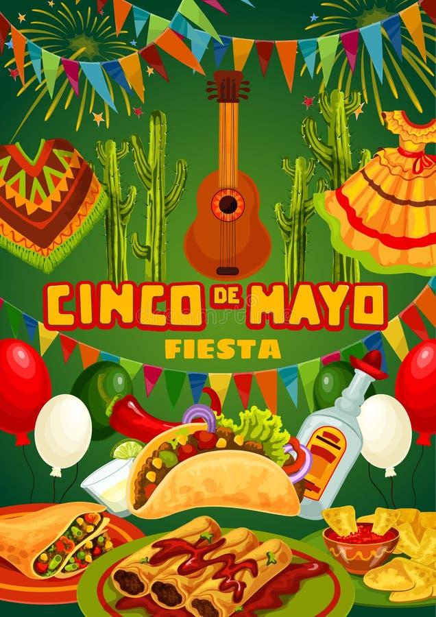 Mexican party guitar, food, drink. Cinco de Mayo. Cinco de Mayo fiesta party food, drink and Mexican holiday guitar vector invitation. Cactus tequila, margarita vector illustration