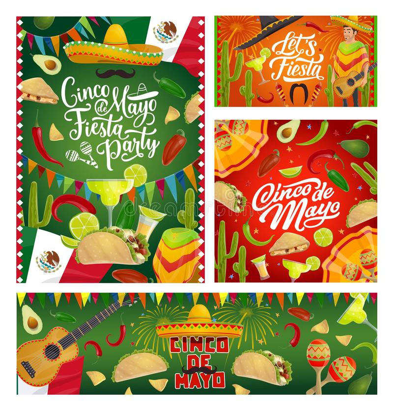 Mexican party guitars, fiesta sombreros and flags. Cinco de Mayo fiesta party sombreros, guitars and maracas, Mexican holiday vector greeting cards. Tequila stock illustration