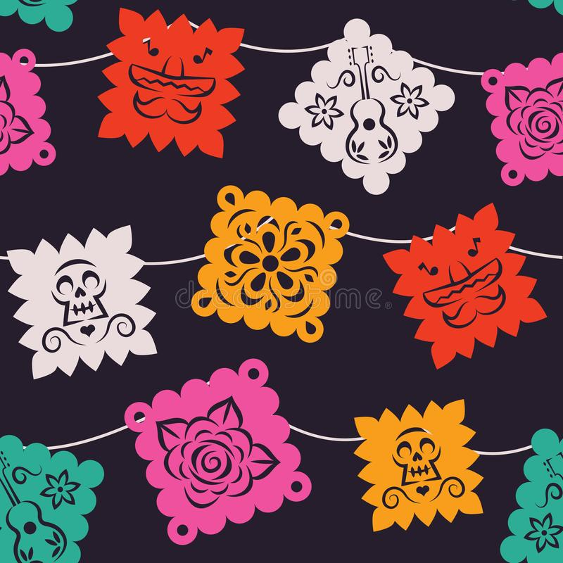 Mexican party paper flag seamless pattern. Mexican paper flag seamless pattern. Traditional papel picado background with mariachi hat, skull and flower art for royalty free illustration