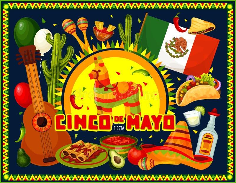 Cinco de Mayo holiday sombrero, pinata and guitar. Mexican party vector design of Cinco de Mayo holiday. Fiesta sombrero, guitar and maracas, cactus, tacos and royalty free illustration