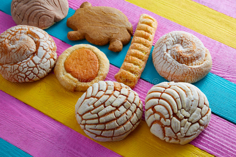 Mexican pastries concha puerquito ojo buey royalty free stock photos