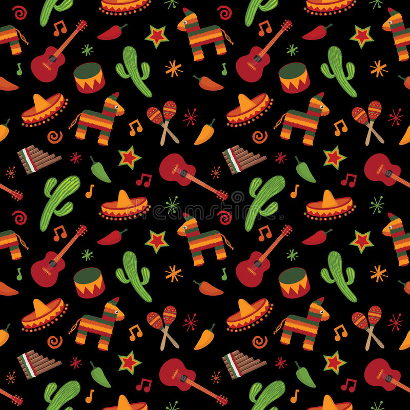 Download Mexican pattern stock vector. Image of backdrop, guitar - 21689038
