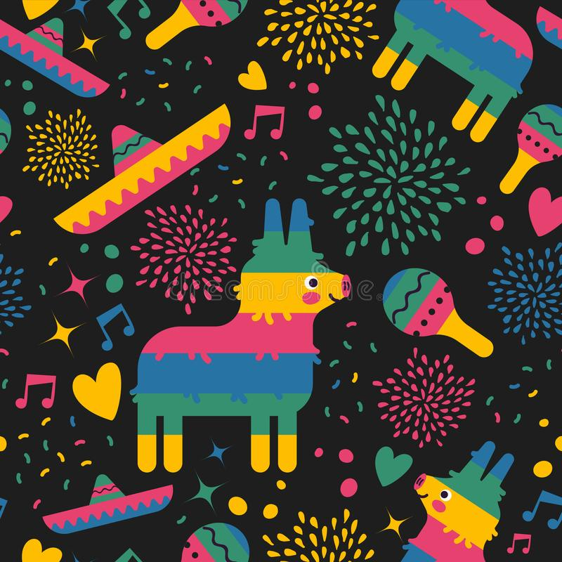 Mexican pattern background of cute mexico art stock illustration