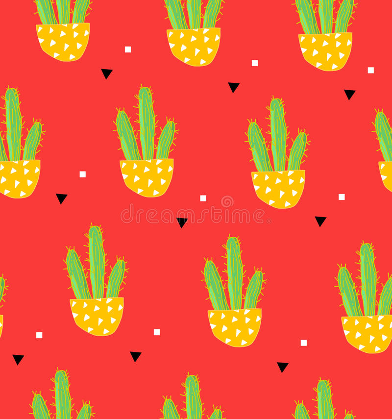 Mexican pattern with cactus in a flowerpot and geometric shape on red background. Ornament for textile and wrapping. Vector.  royalty free illustration
