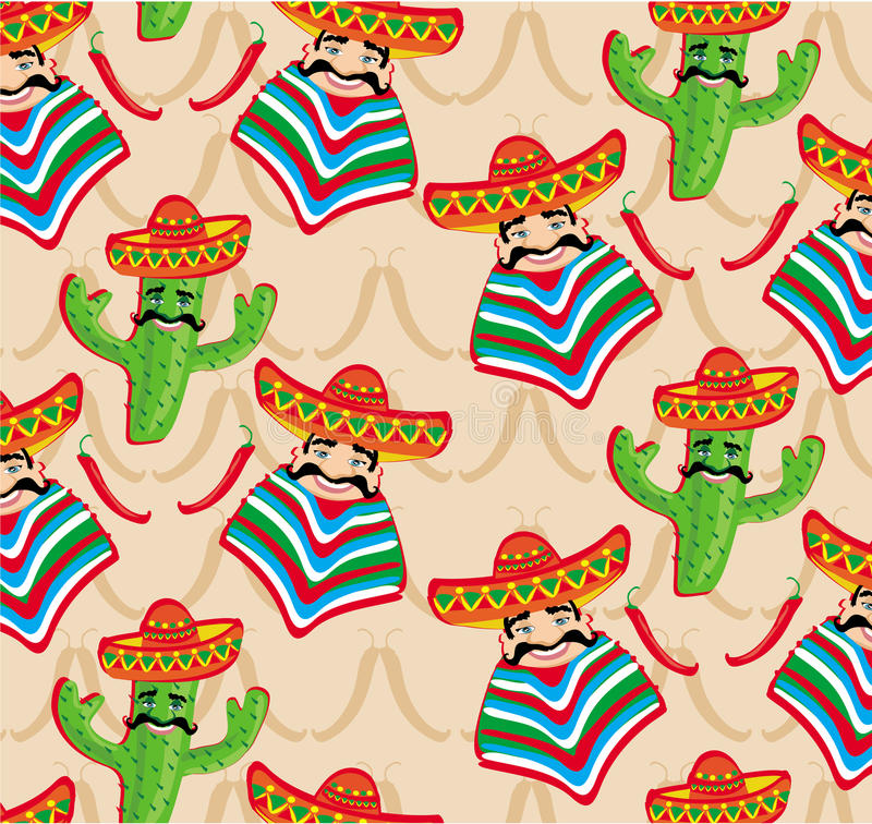 Mexican pattern with cactus, hat and chill illustration. Over background royalty free illustration