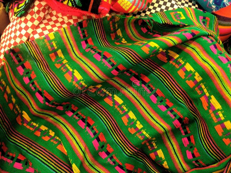Mexican pattern fabric in green stock photo