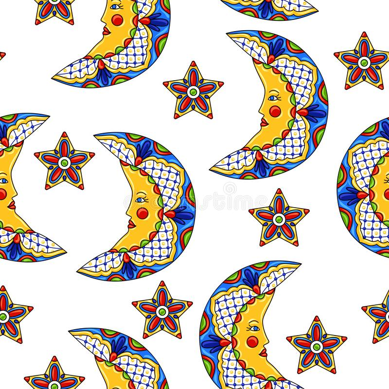 Mexican pattern with moons and stars. Mexican seamless pattern with moons and stars. Traditional decorative objects. Talavera ornamental ceramic. Ethnic folk royalty free illustration