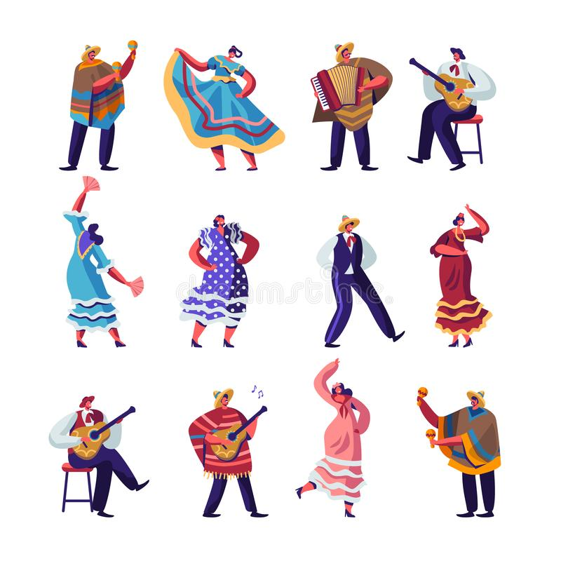 Mexican People in Colorful Traditional Clothes Set, Cinco De Mayo Festival Musicians with Guitars, Maracas and Accordion royalty free illustration