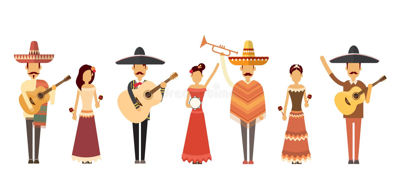 Mexican People Group Wear Traditional Clothes Play Music Instruments Full Length. Flat Vector Illustration vector illustration