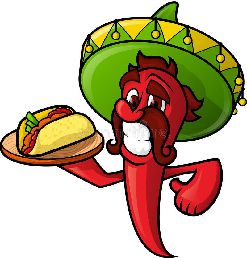 Mexican Pepper With Tacos royalty free illustration
