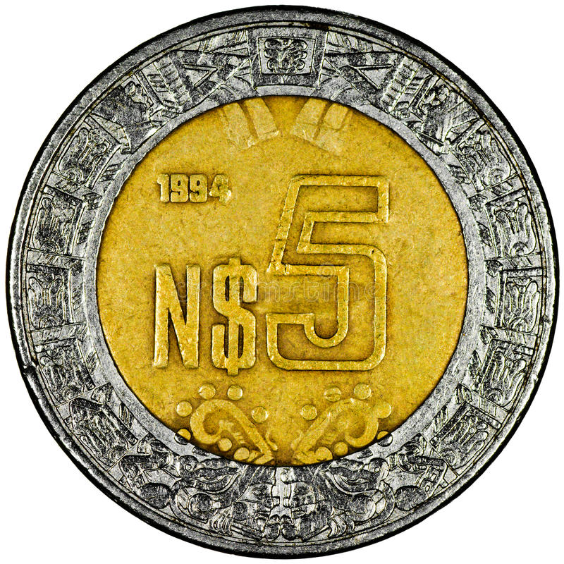 Mexican Peso. Mexican 5 Pesos Gold and Silver Coin Reverse showing the Ring of Serpents of the Aztec Isolated stock photos