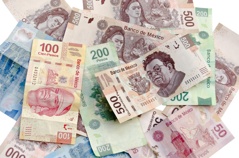 Mexican Pesos currency bills. Mexican Pesos, bank notes, currency bills, money background royalty free stock photos