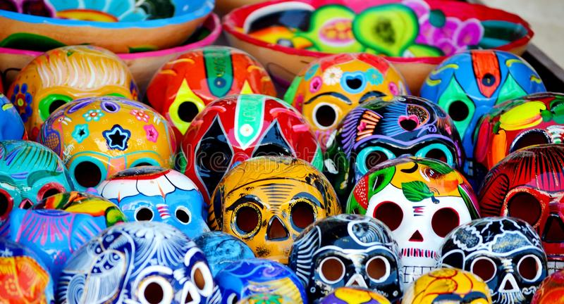 Mexican pile of skulls stock photography