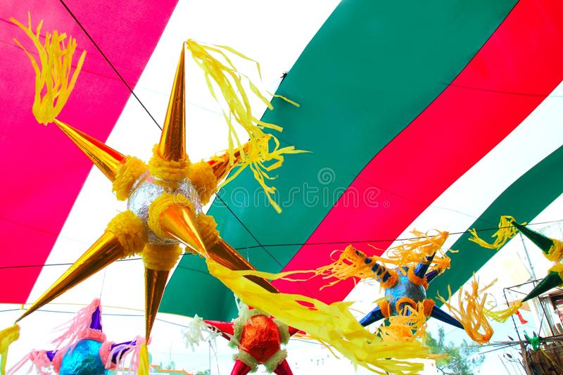 Mexican pinata in mexico flag background. Mexican colorful pinata in mexico with flag background stock photography