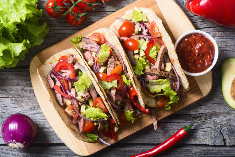 Mexican pork tacos royalty free stock photography